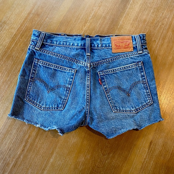 Levi's high waisted distressed jean shorts